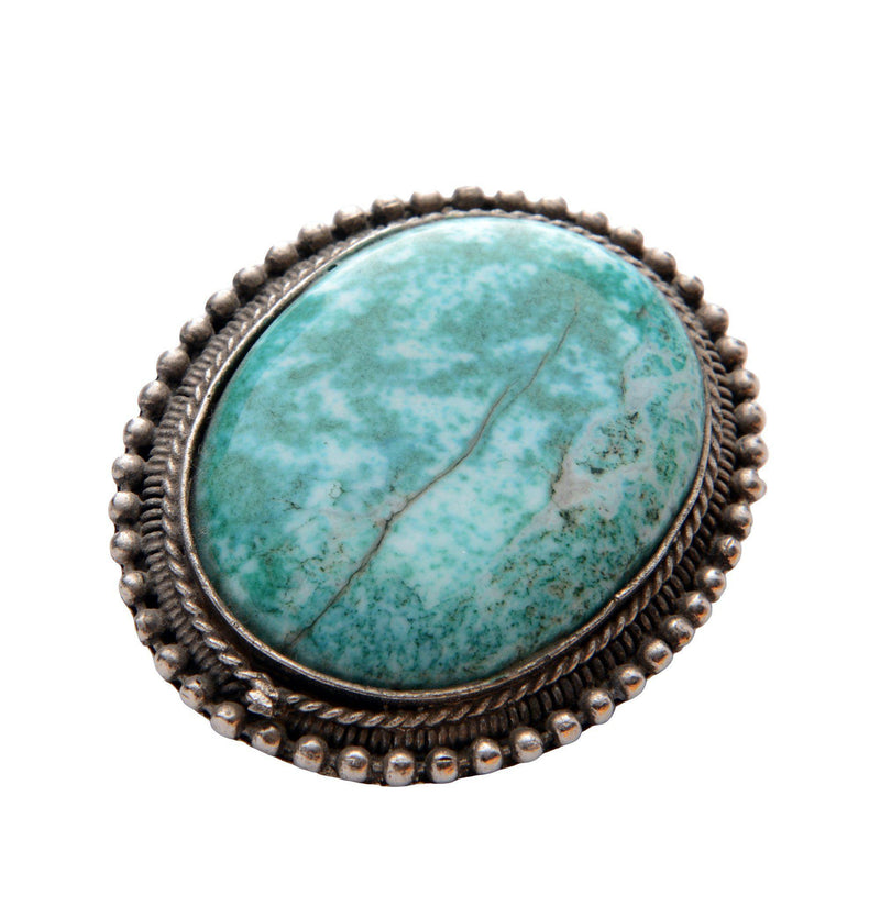 Oval Turquoise Silver Pendant Brooch - Ron Tomson
