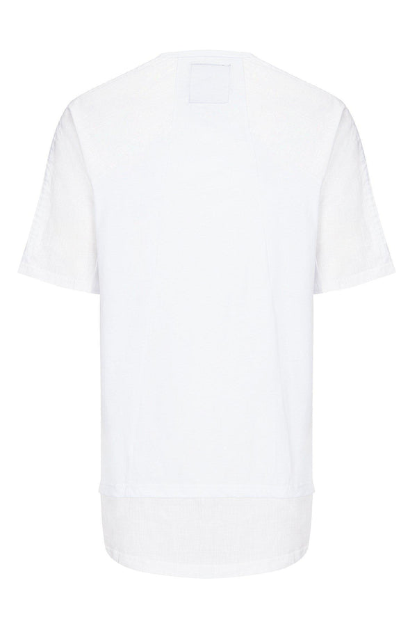 OVERSIZED CONTRAST PANEL HENLEY T-SHIRT WHITE - Ron Tomson