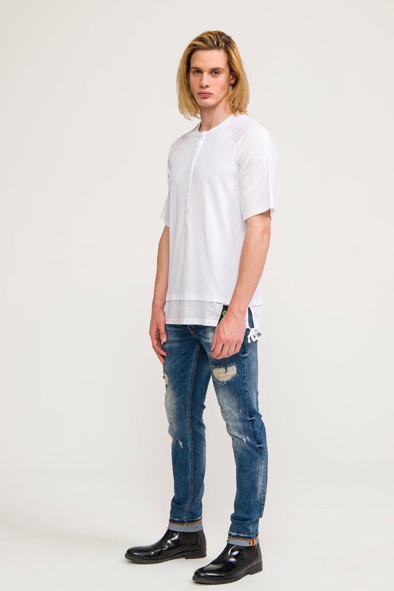 OVERSIZED CONTRAST PANEL HENLEY T-SHIRT WHITE