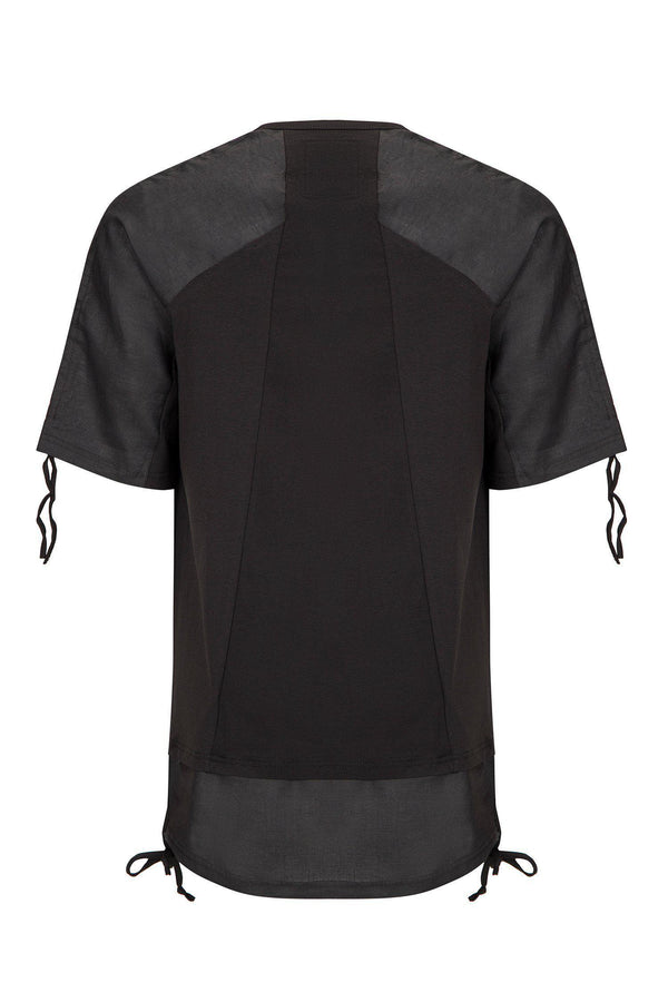 OVERSIZED CONTRASTING PANEL HENLEY T-SHIRT BLACK