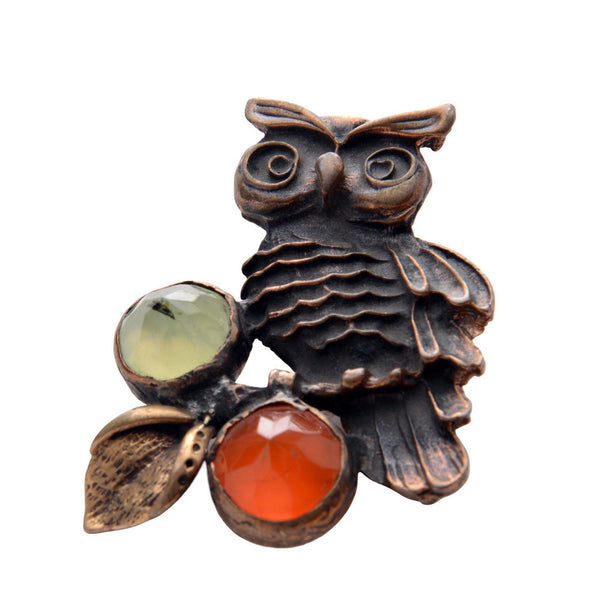 Owl and Stones Pendant Brooch - Ron Tomson