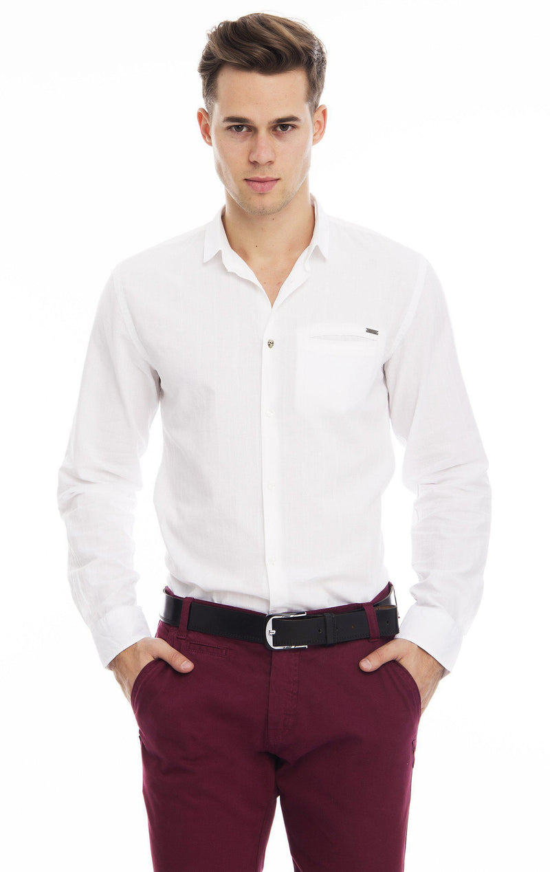 Oxford Style Narrow Collar Shirt - White-Shirts-Ron Tomson-WHITE-S-Ron Tomson