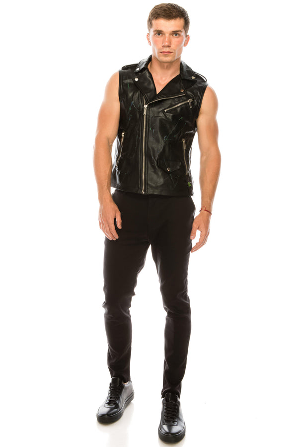 PAINT SPLATTER FAUX LEATHER VEST - Ron Tomson