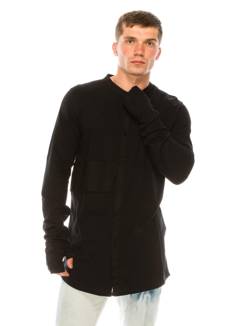 PANELED GRANDAD COLLAR SHIRT - BLACK