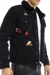 Patched Faux Shearling Lining jacket - BLACK - Ron Tomson