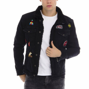 Patched Faux Shearling Lining jacket - BLACK
