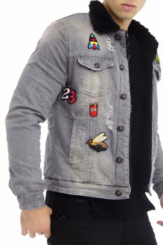 Patched Faux Shearling Lining jacket - GREY 1