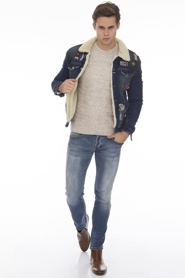 Patched Faux Shearling Lining jacket - NAVY 1