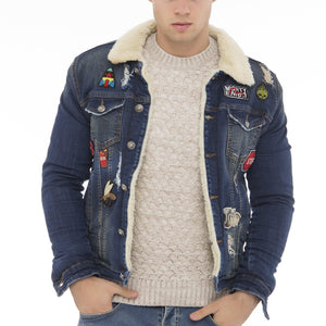 Patched Faux Shearling Lining jacket - NAVY