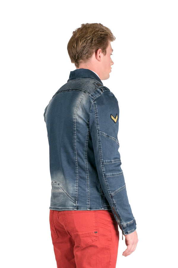 Patchwork Denim Motorcycle Jacket - More Colors-Jackets-Ron Tomson-NAVY-M/38-Ron Tomson