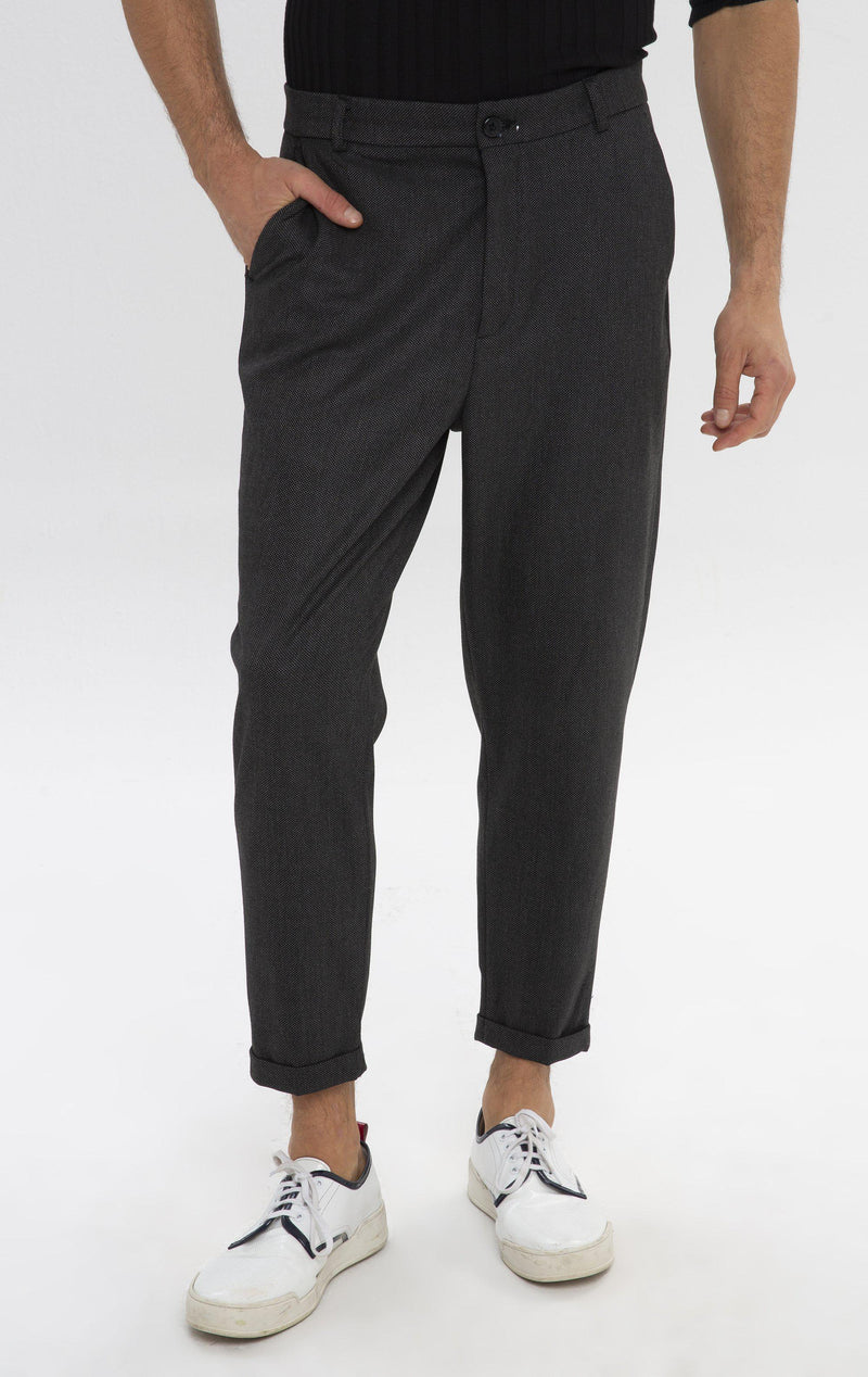 Patterned Chain Fitted Cuffed Pants - Black - Ron Tomson