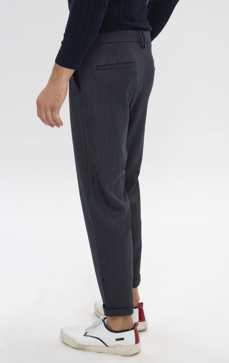 Patterned Chain Fitted Cuffed Pants - Navy