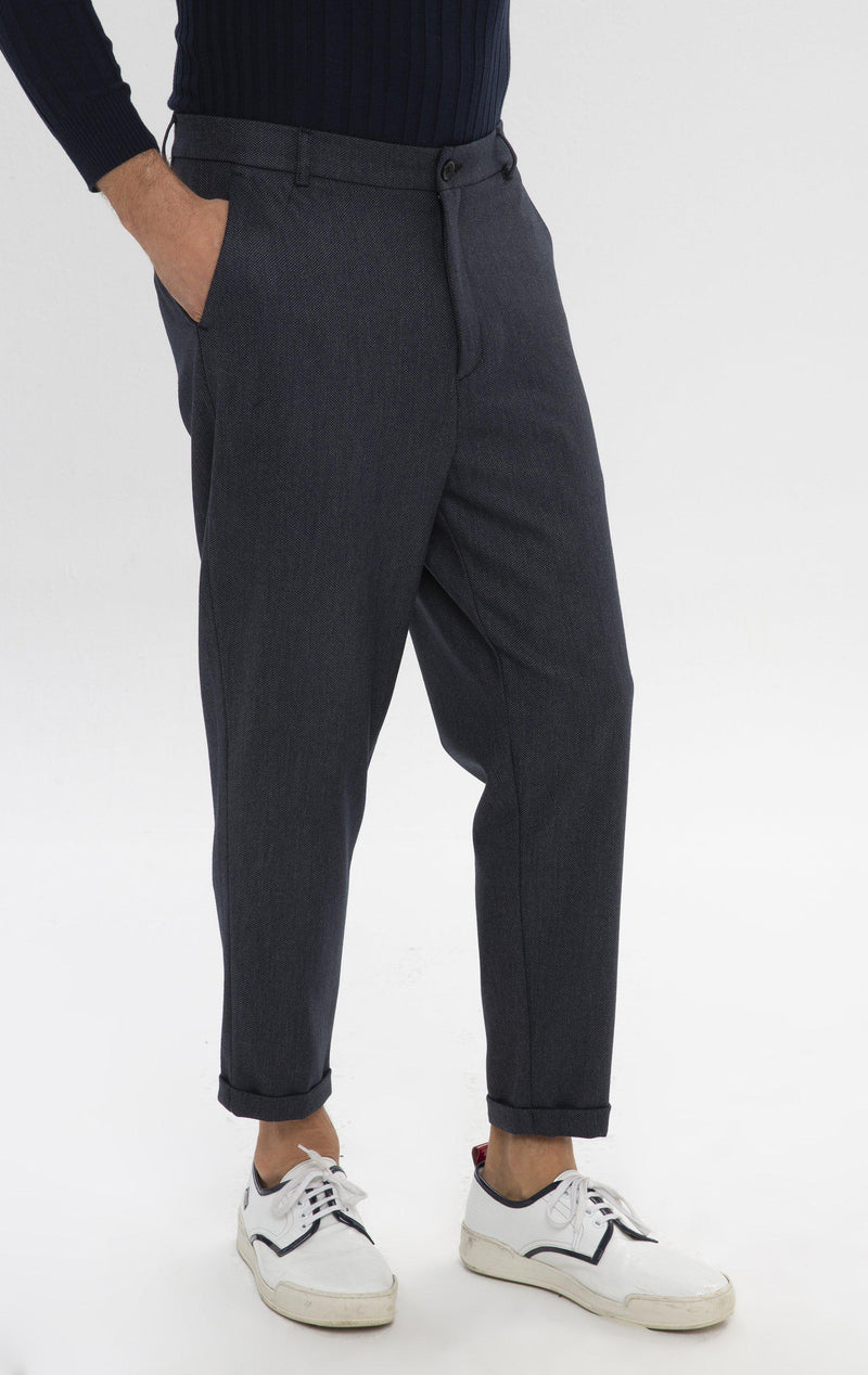 Patterned Chain Fitted Cuffed Pants - Navy - Ron Tomson