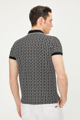 Patterned Polo Shirt - BLACK - Ron Tomson