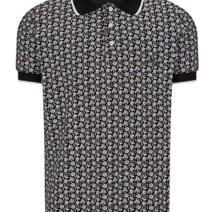 Patterned Polo Shirt - BLACK