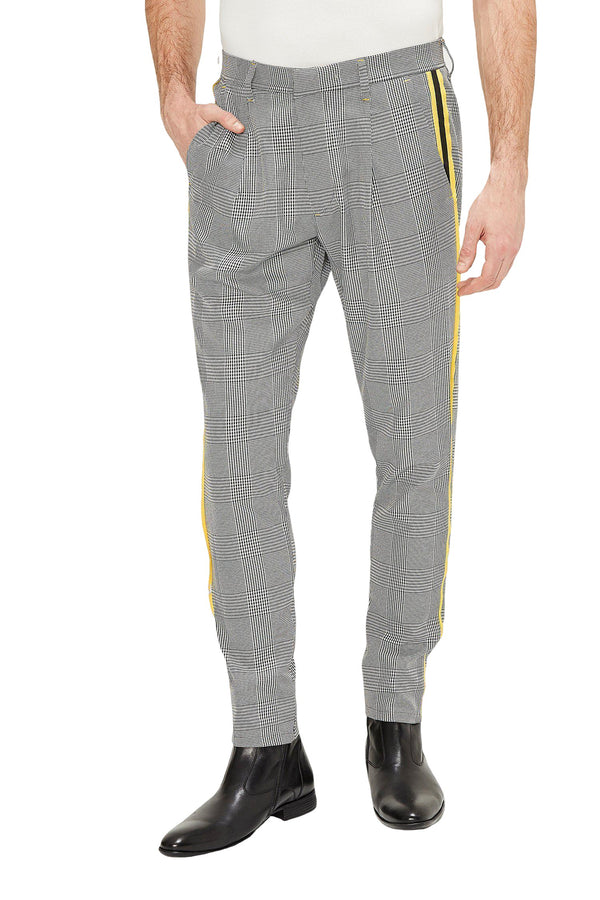 Patterned Slim Fit Casual Trouser - BLACK 1 - Ron Tomson