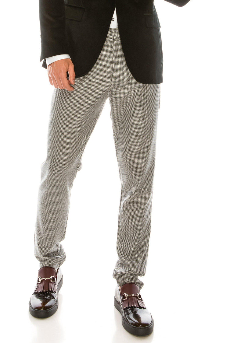Patterned Slim Fit Casual Trouser - Black - Ron Tomson