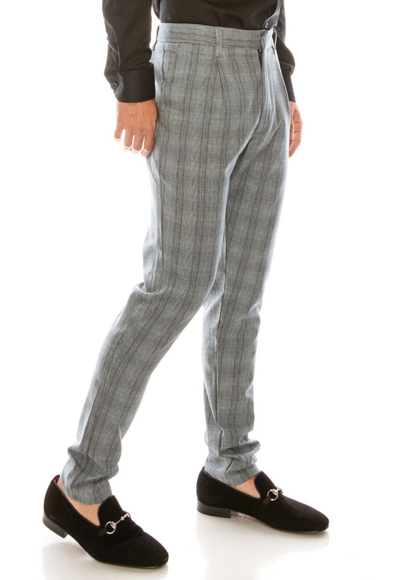 Patterned Slim Fit Casual Trouser- DARK GREY