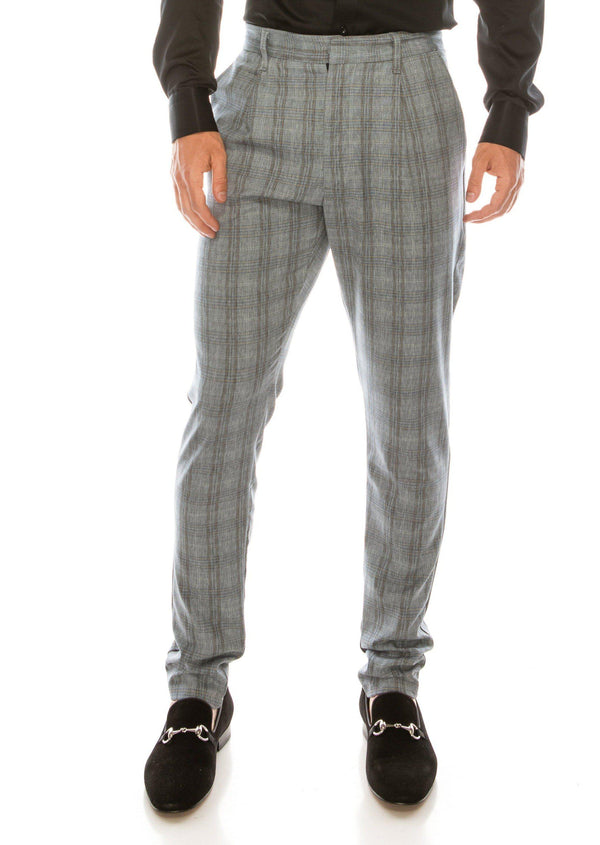 Patterned Slim Fit Casual Trouser- DARK GREY - Ron Tomson