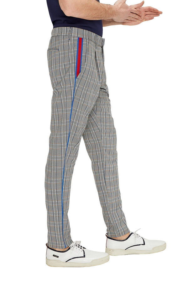Patterned Slim Fit Casual Trouser - GREY MUSTARD - Ron Tomson