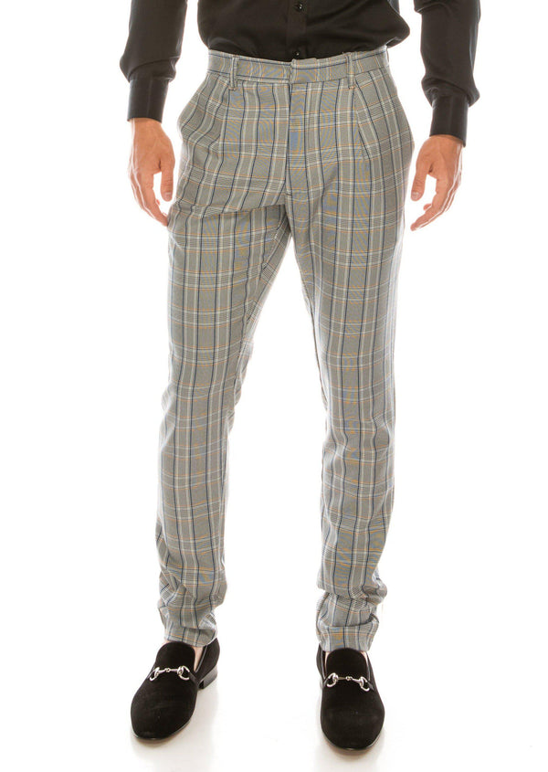 Patterned Slim Fit Casual Trouser- GREY MUSTARD
