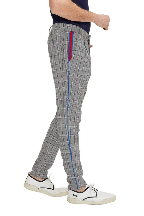 Patterned Slim Fit Casual Trouser - GREY RED
