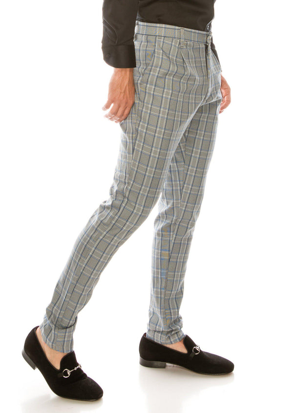 Patterned Slim Fit Casual Trouser - GREY SAX