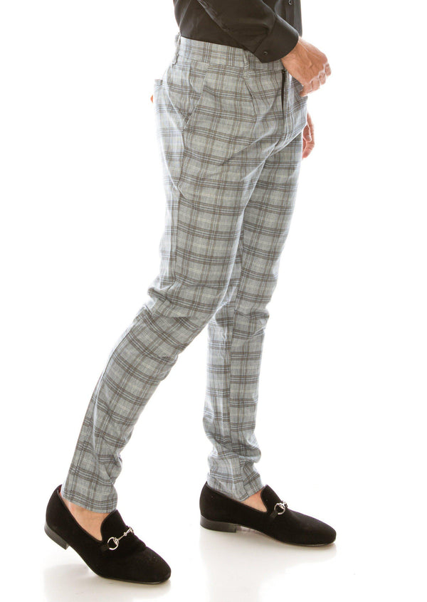 Patterned Slim Fit Casual Trouser - Grey White