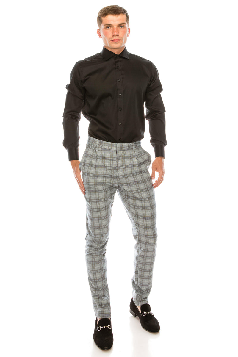 Patterned Slim Fit Casual Trouser - Grey White - Ron Tomson