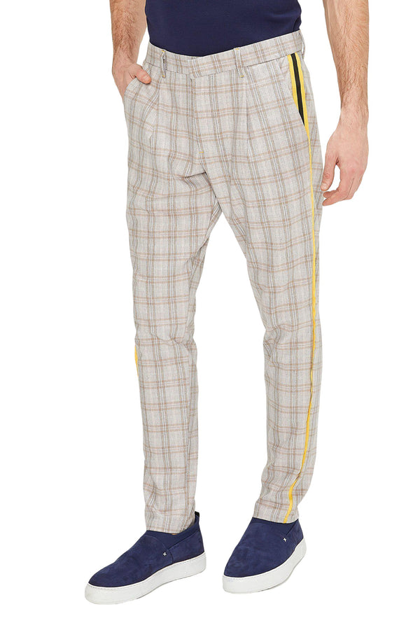 Patterned Slim Fit Casual Trouser - PINK - Ron Tomson