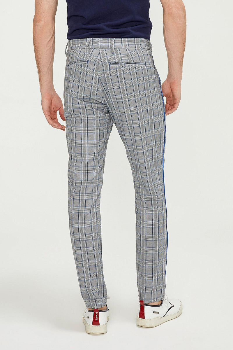 Patterned Slim Fit Causal Trouser - GREY SAX