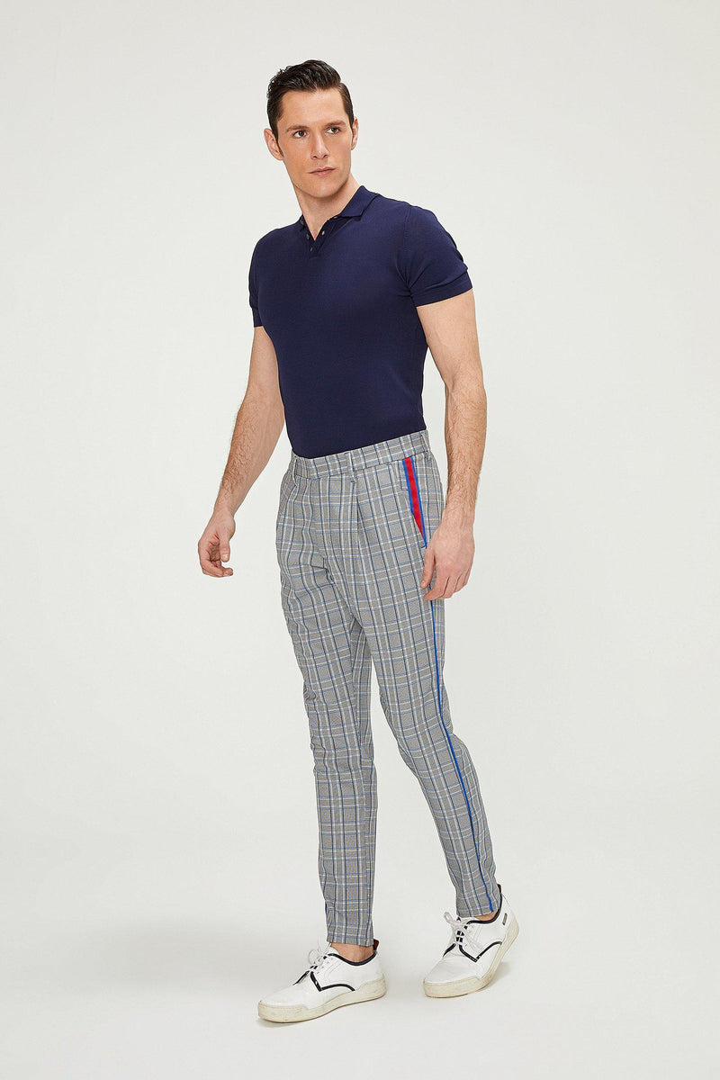 Patterned Slim Fit Causal Trouser - GREY SAX - Ron Tomson
