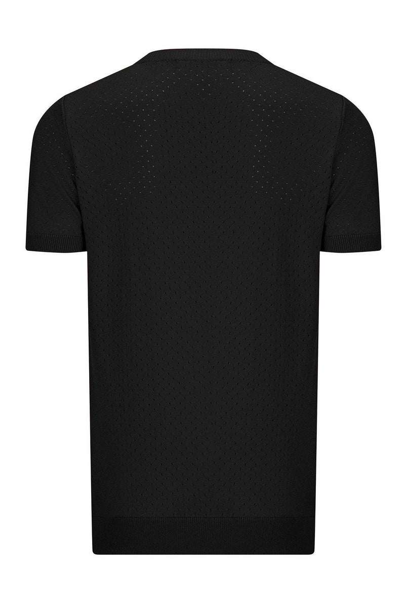 PERFORATED ROUND NECK SHIRT - BLACK - Ron Tomson