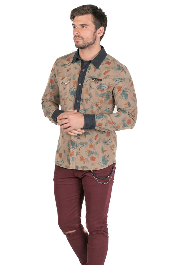 Pierced Fitted Button Down Shirt - KHAKI - Ron Tomson