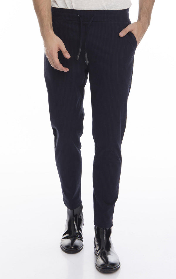 Pinstriped Elastic Waist Pull-On Pants - More Colors-Jeans-Ron Tomson-NAVY-M-Ron Tomson