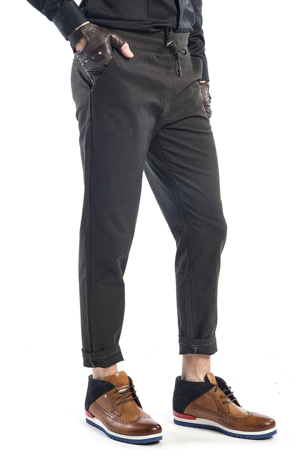 Pinstriped Elastic Waist Pull-On Pants - More Colors-Jeans-Ron Tomson-BLACK-M-Ron Tomson