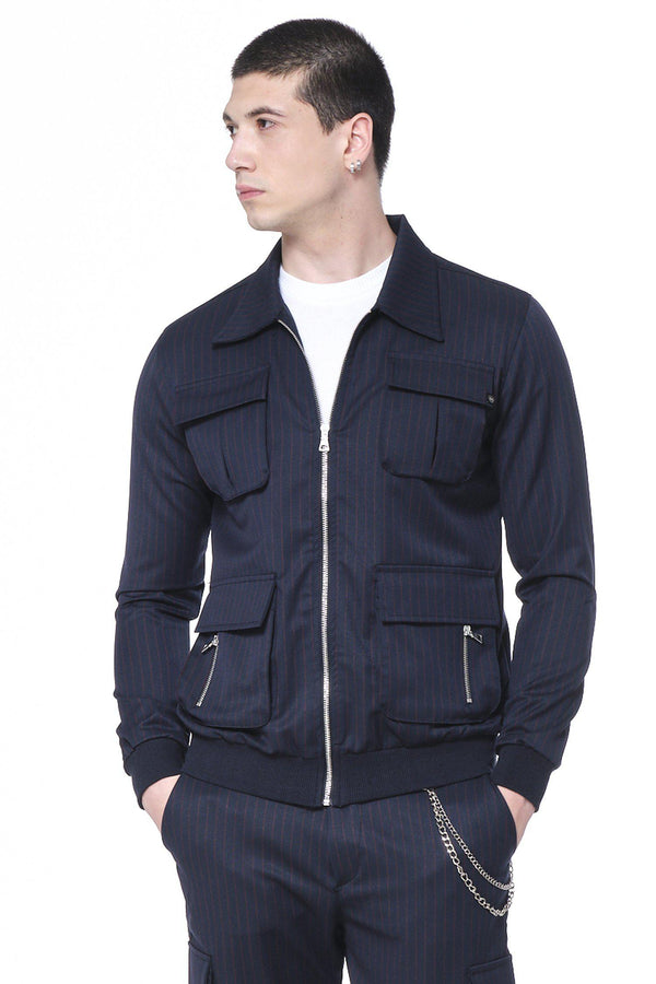 Pinstriped Utility Jacket - Navy Red - Ron Tomson