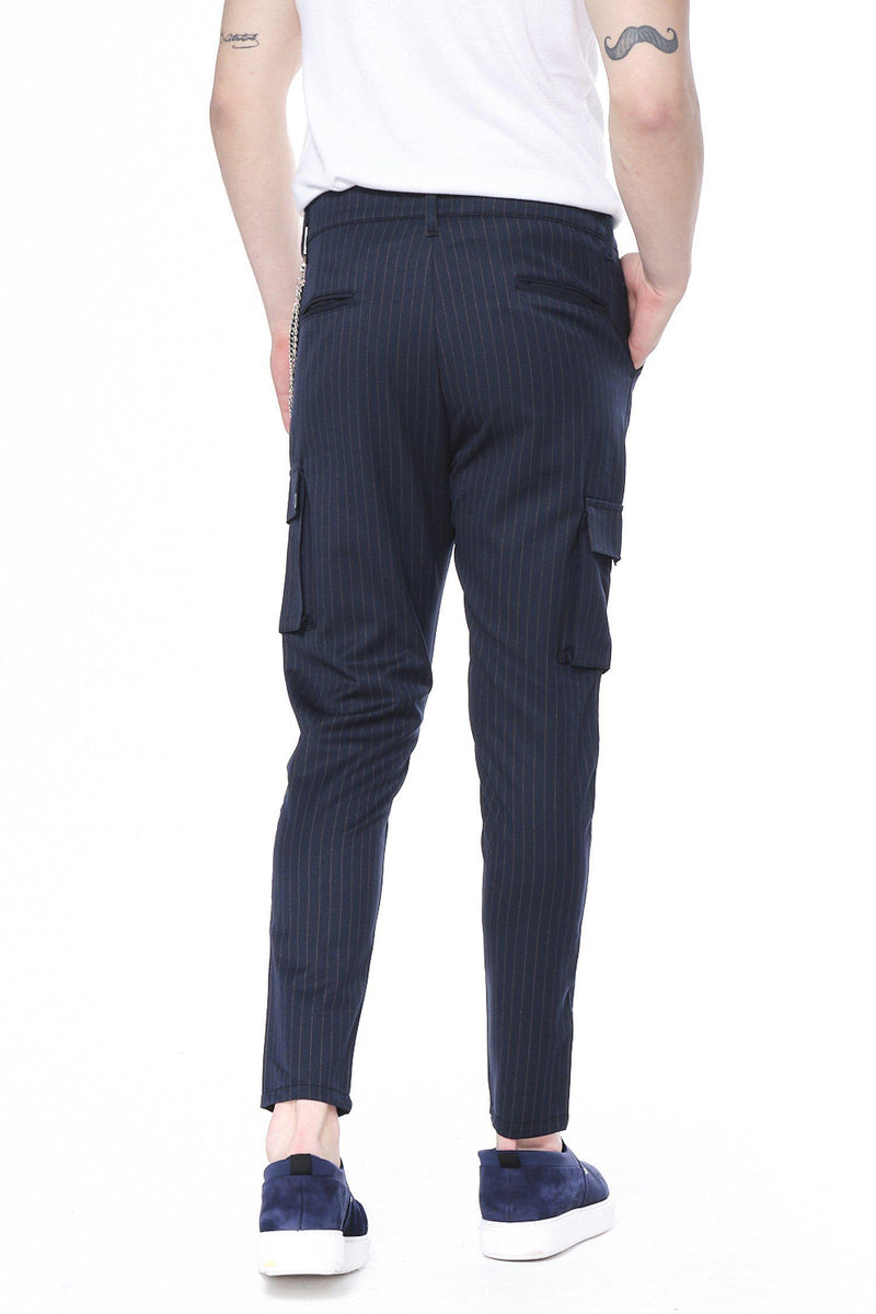 Pinstriped Utility Pants - Navy Mustard - Ron Tomson
