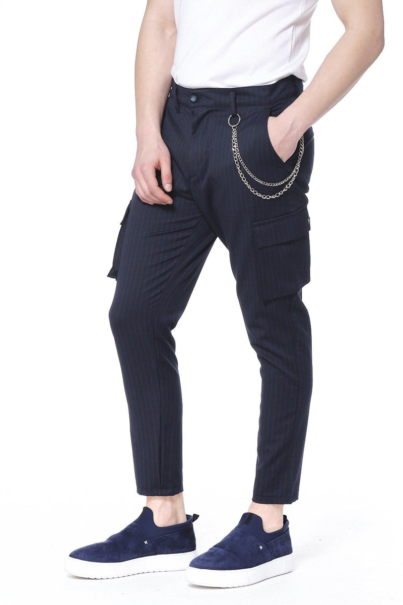 Pinstriped Utility Pants - Navy Red - Ron Tomson