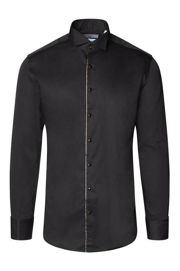 Piped Lurex Detailed Tuxedo Shirt - Black Black - Ron Tomson