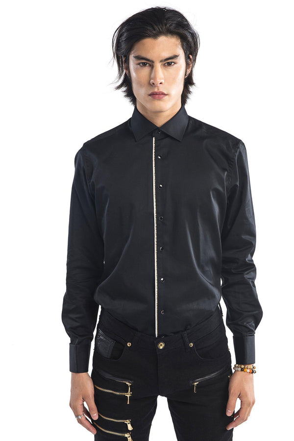 Pipped Lurex Detailed Tuxedo Shirt - More Colors-Shirts-Ron Tomson-BLACK WHITE-S-Ron Tomson