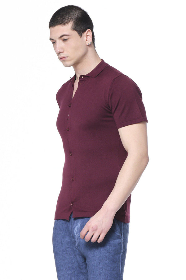 Placket S/S Polo - Burgundy - Ron Tomson