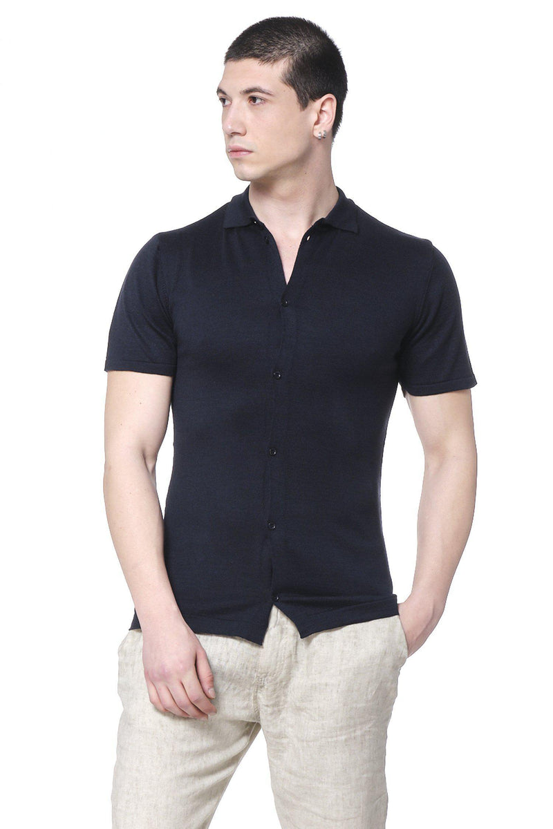 Placket S/S Polo - Navy - Ron Tomson