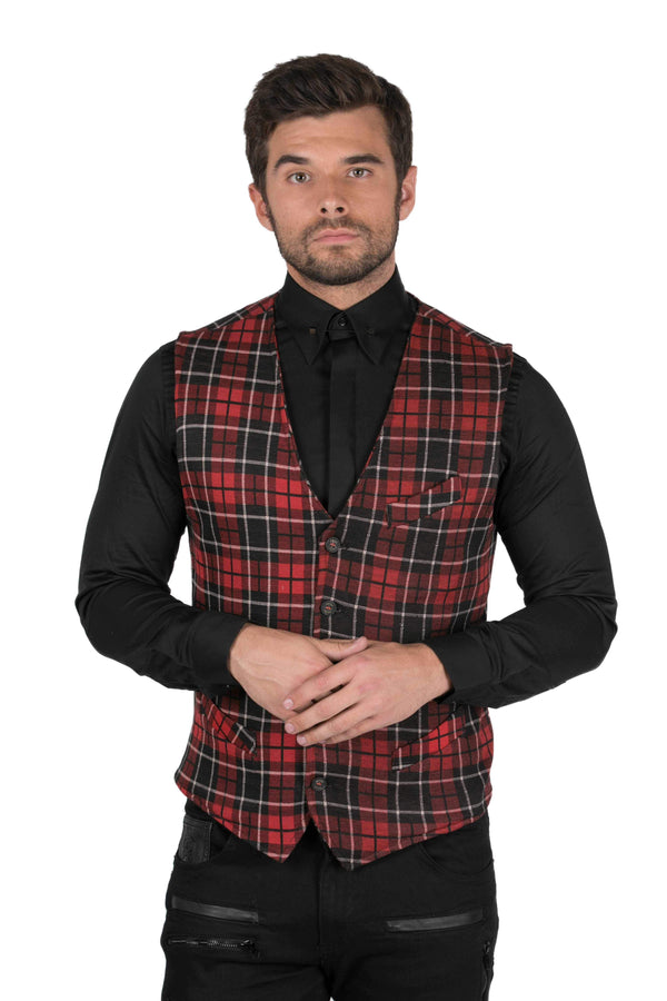 Plaid Fitted Chest Pocket Vest-Vests-Ron Tomson-BLACK RED-S-Ron Tomson