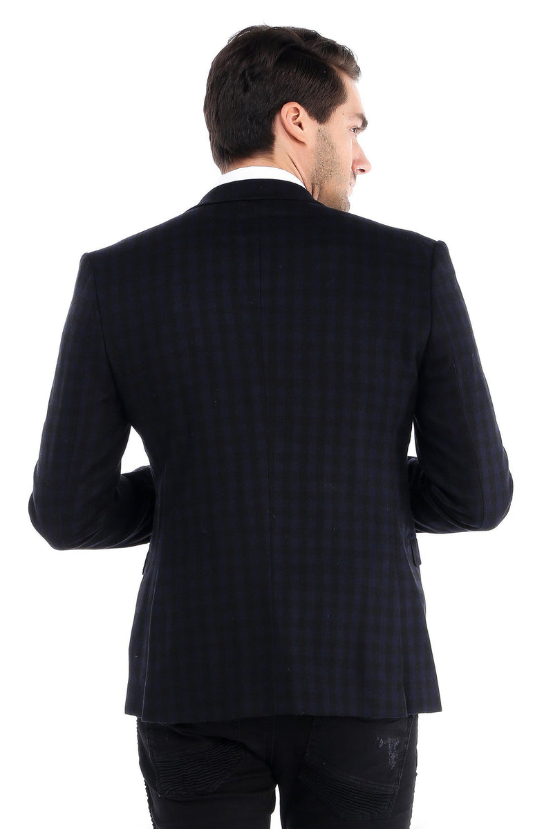 Plaid Pattern Fitted Blazer - Ron Tomson