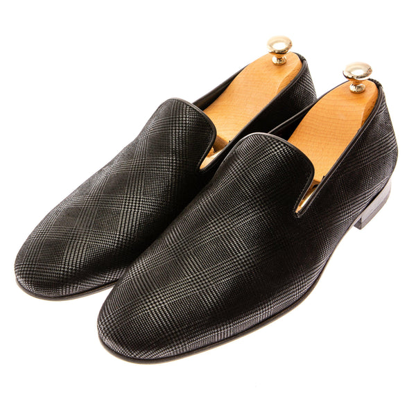 Plaid Pattern Loafer - Black