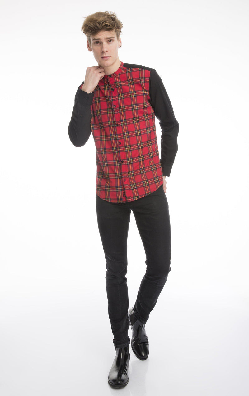 Plaid Printed Shirt-Casual Shirts-Ron Tomson-BLACK-RED-B-S-Ron Tomson