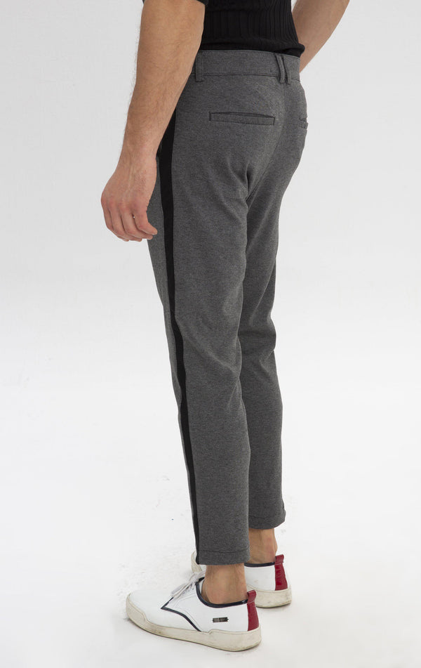 Pleated Striped Chain Fitted Pants - Anthracite - Ron Tomson