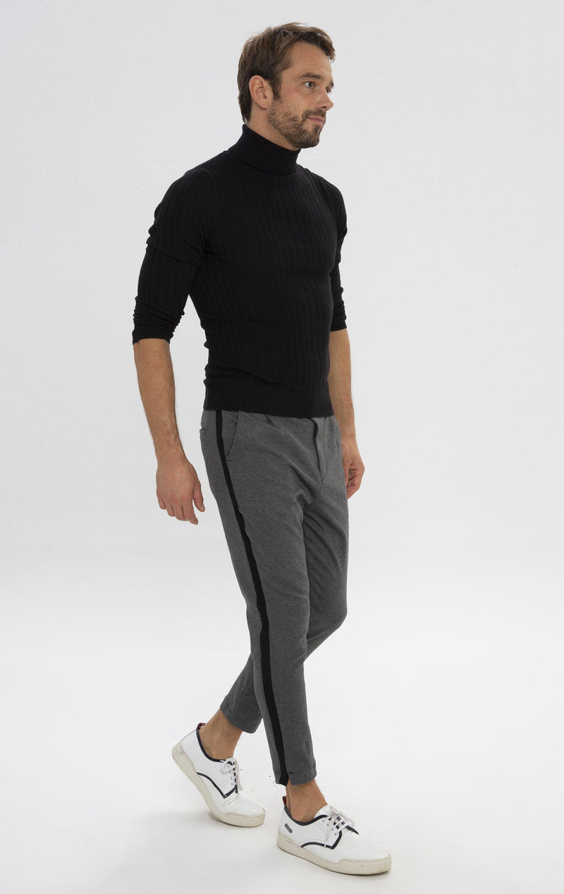 Pleated Striped Chain Fitted Pants - Anthracite