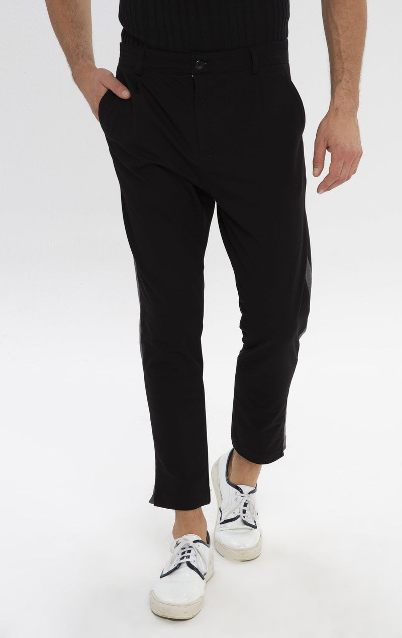 Pleated Striped Chain Fitted Pants - Black